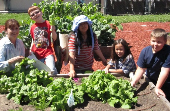 Dawna and Kids at Marguerite Hahn School organic garden