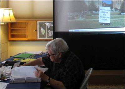 Volunteer Marilyn Leigh checks precinct lists for the MMWD Fluoridation Moratorium Initiative campaign.