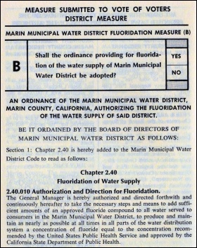The original ballot measure approving MMWD water-fluoridation.