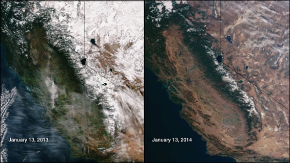 A comparison of California drought conditions, January 2013 & January 2014. Note the lack of snow in 2014.