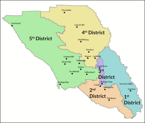 map: Sonoma County Supervisorial Districts