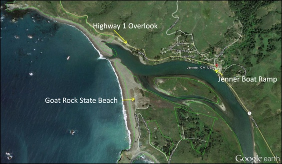 Russian River Estuary at Jenner. Graphic: Sonoma County Gazette.