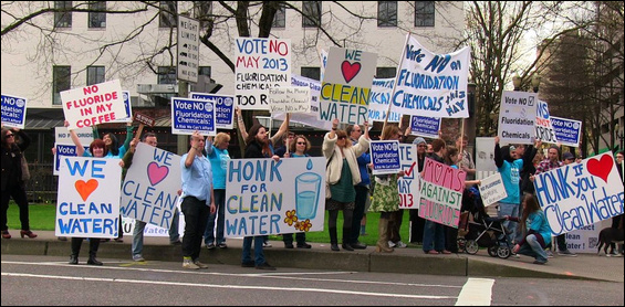 An inspirational moment in the victorious Clean Water Portland Campaign. Photo: Hiram Asmuth