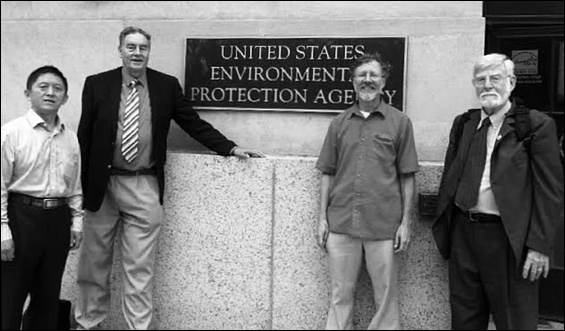 Research scientist Quon Yong Xiang, toxicologist Paul Connett, FAN's Chris Neurath, and NTEU 280 founding member Bill Hirzy visit EPA Headquarters (9/5/2019)
